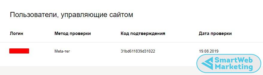 успешная проверка корректности добавления кода в Яндекс Вебмастере